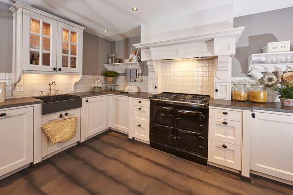Landelijk lambrisering keuken - Oude stijl keuken wastafel ...