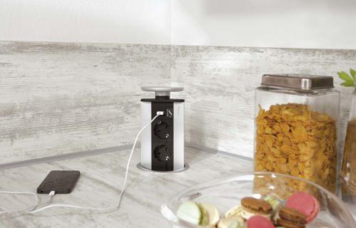 stopcontact in werkblad aanrechtblad db keukens. Black Bedroom Furniture Sets. Home Design Ideas