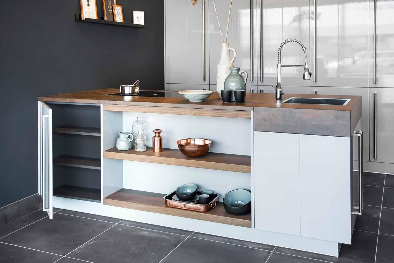 Design keukeneiland met kastenwand super chique db keukens