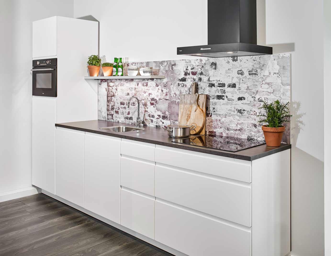 Greeploze Witte Keuken : Kunststof keuken semi greeploos wit modern greeploze witte
